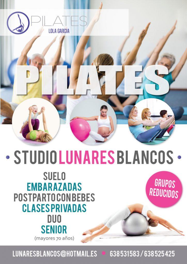 Cartel de clases de pilates de Lunares Blancos en Boadilla del Monte
